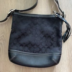 Coach Black Canvas & Leather Logo Crossbody Bag